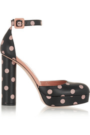 Polka-dot leather pumps
