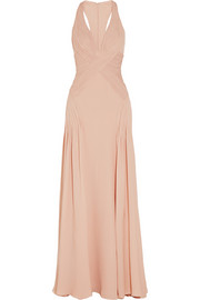 Plissé silk-georgette gown