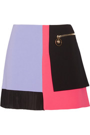 Color-block cady mini skirt