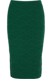 Jacquard-knit pencil skirt