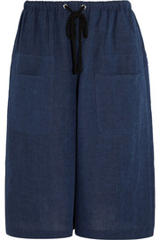 Cotton and linen-blend wide-leg culottes