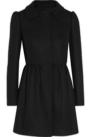 Pleated wool-blend coat