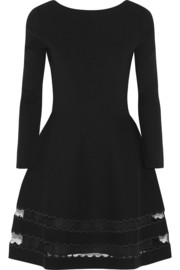 Point d'esprit-trimmed stretch-knit mini dress