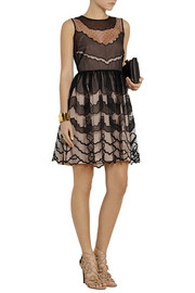 REDValentino Silk organza-paneled tulle mini dress