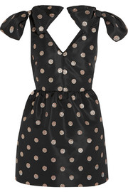 Glitter-finished polka-dot faille mini dress