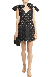 REDValentino Glitter-finished polka-dot faille mini dress