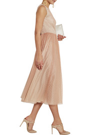 REDValentino Point d'esprit and satin midi dress