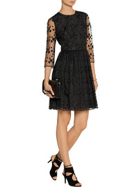REDValentino Layered embroidered tulle and crepe mini dress