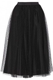 Point d'esprit tulle midi skirt