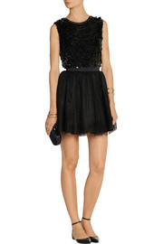 REDValentino Embellished silk-georgette and point d'esprit mini dress