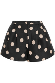 Polka-dot satin-twill shorts