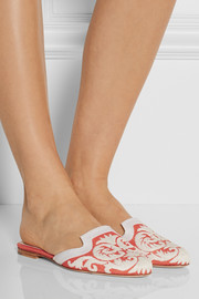 Oscar de la Renta Calista embroidered raffia slippers
