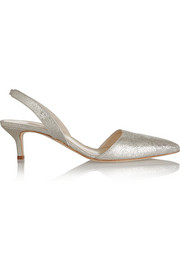 Oscar de la Renta Samie metallic textured-leather pumps