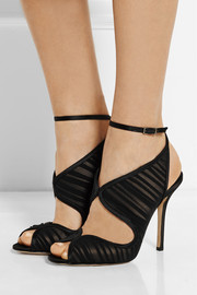 Oscar de la Renta Suzy leather, chiffon and satin sandals
