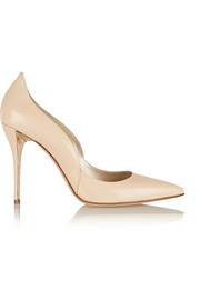 Sabrina glossed-leather pumps