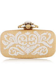Goa embroidered raffia box clutch