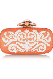 Oscar de la Renta Goa embroidered raffia box clutch