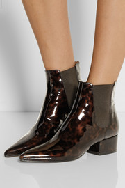 Tortoiseshell patent-leather Chelsea boots