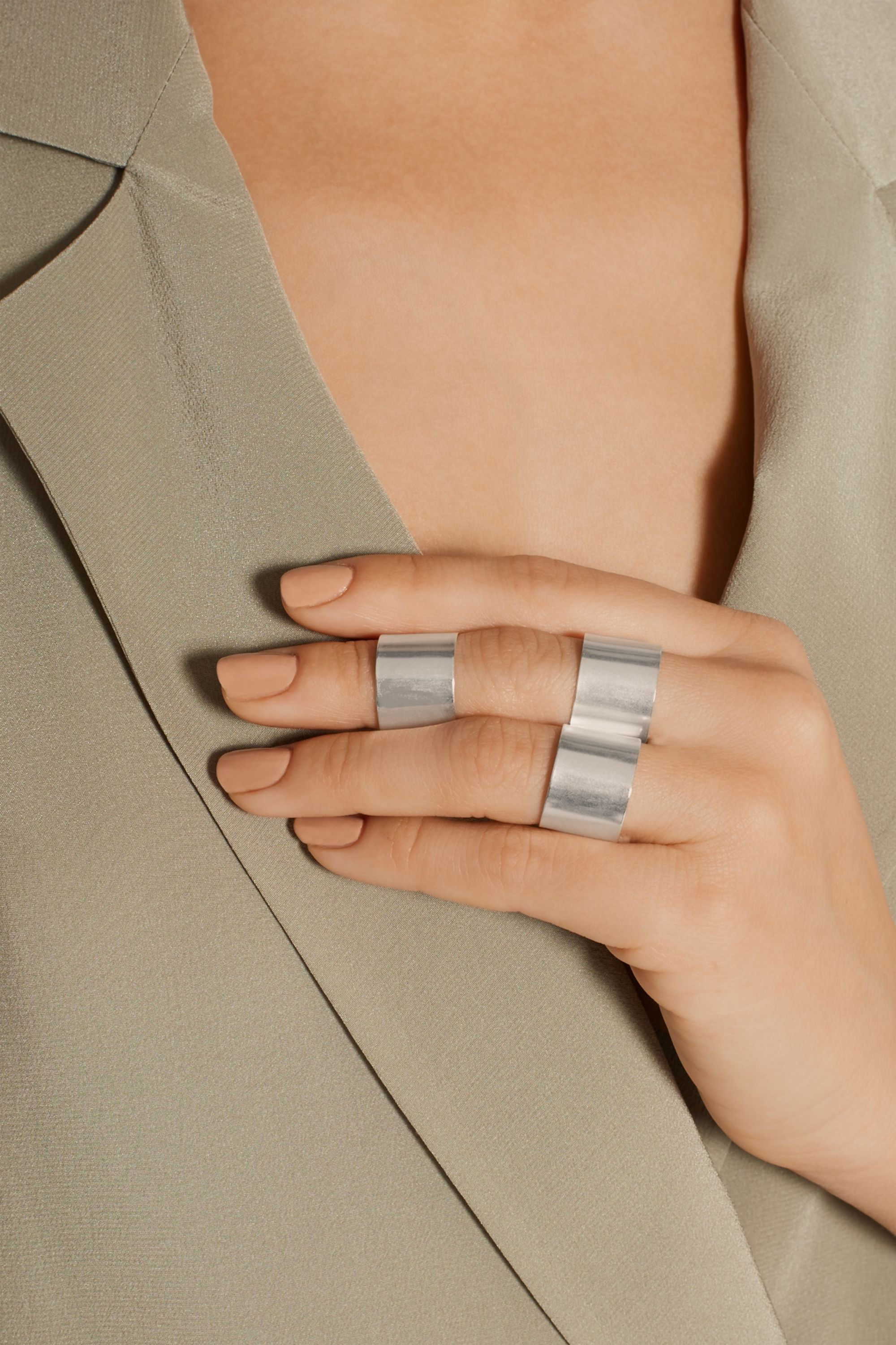 Maison Margiela Set of four silver-plated rings