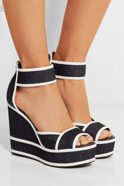 Leather-trimmed denim wedge sandals
