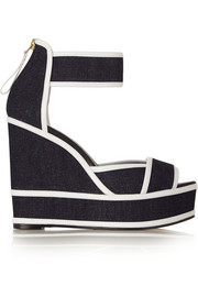 Pierre Hardy Leather-trimmed denim wedge sandals