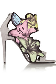 Lily printed leather and suede sandals
