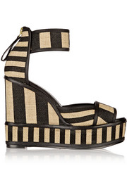 Striped basketweave jute and leather wedge sandals