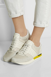 Intrecciato leather, mesh and suede sneakers