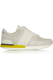 Bottega Veneta Intrecciato leather, mesh and suede sneakers