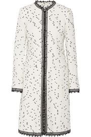Oscar de la Renta Crochet-trimmed flecked tweed coat