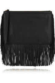 Fringed leather clutch