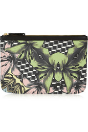 Floral-print coated canvas clutch