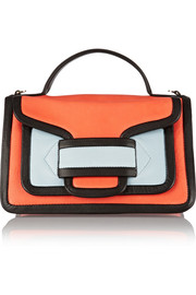 Color-block leather satchel