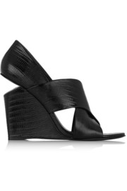 Ida lizard-effect patent-leather wedge sandals