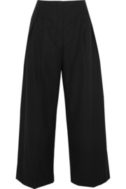 Cropped cotton-poplin wide-leg pants