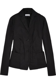 Pleated cotton-blend canvas blazer