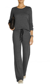 Splendid Waffle-knit stretch-jersey wide-leg pants