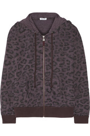 Leopard-print jersey hooded top