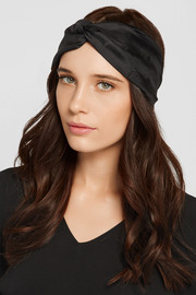 Leather-trimmed silk-twill headband