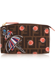 Fendi Printed textured-leather cosmetics case