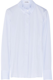 Stretch cotton-blend poplin shirt