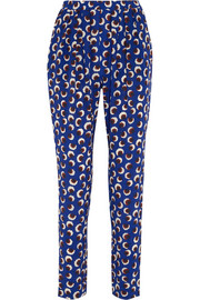 Christine printed silk crepe de chine tapered pants