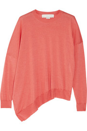 Asymmetric wool and silk-blend sweater