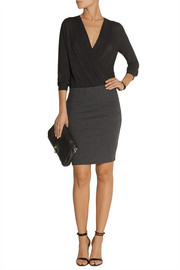 James Perse Collage wrap-effect voile and jersey mini dress