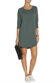 Raglan-sleeve cotton-blend jersey mini dress