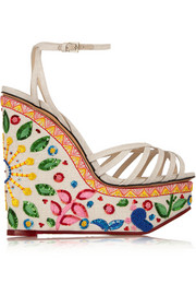 Celebration Meredith embellished linen sandals