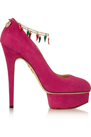 Charlotte Olympia Hot Dolly embellished suede pumps