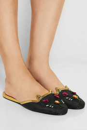 Charlotte Olympia Kitsch Kitty embellished mesh slippers
