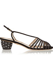 Spike crystal-embellished suede sandals
