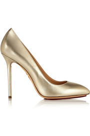 Monroe metallic leather pumps
